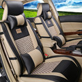 Nuevo cuero de LA PU de seda cubierta de coche auto universal de la cubierta de asiento de coche accesorios interior diseño de lujo bordado delantero y asiento trasero