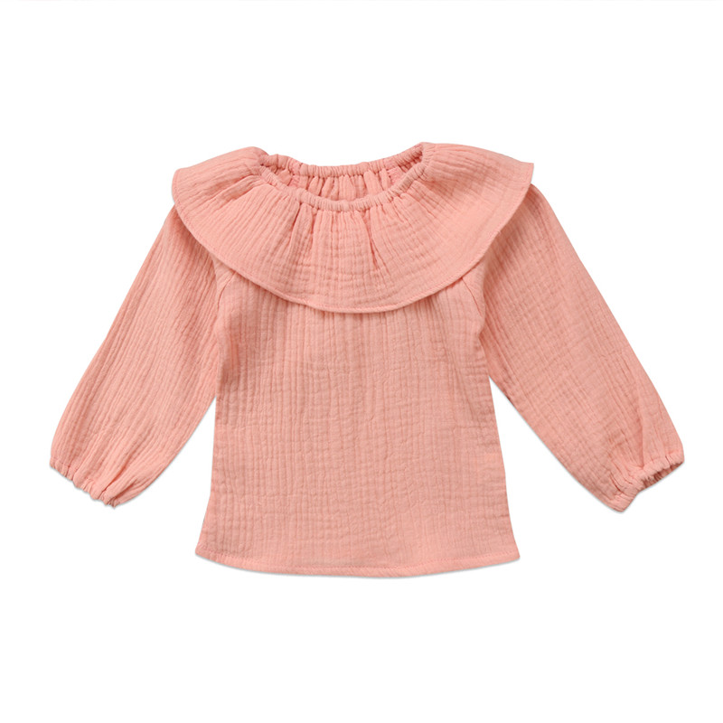 Toddler Baby Girl Lace Collar Top Shirt Long Sleeve Ruffle Bodysuit Blouse Fall Clothes