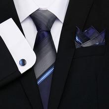 New Mens Ties Handkerchief Tie Set Solid Striped 100% Silk Ties For Men Wedding Business Groom Party   8cm Neck Tie