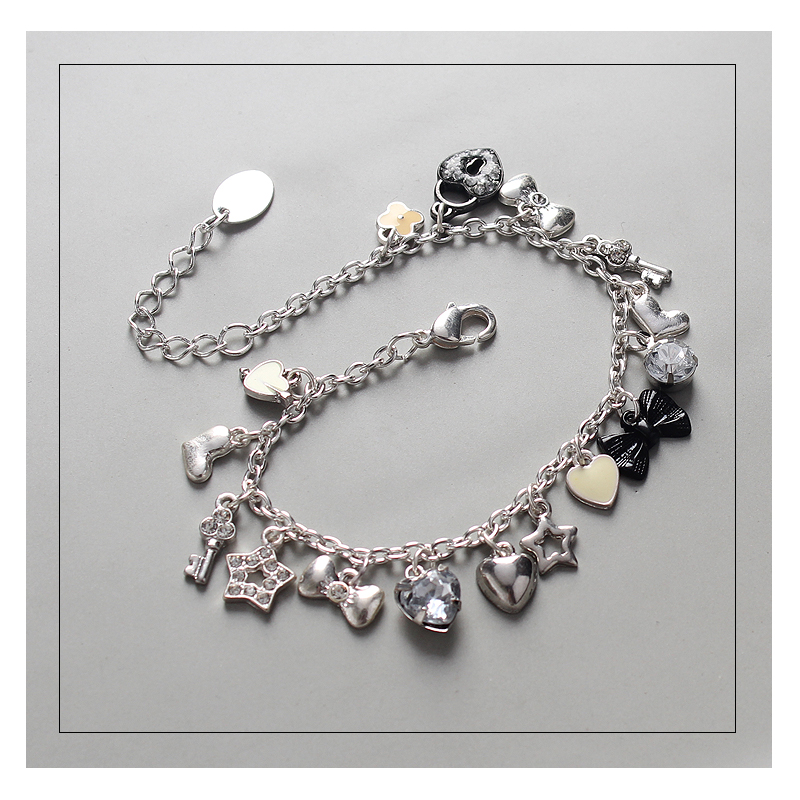 Inlay Crystal Jewels Heart Lock Bow Key Stars Charms Bracelet Fashion Cute Alloy Bracelet