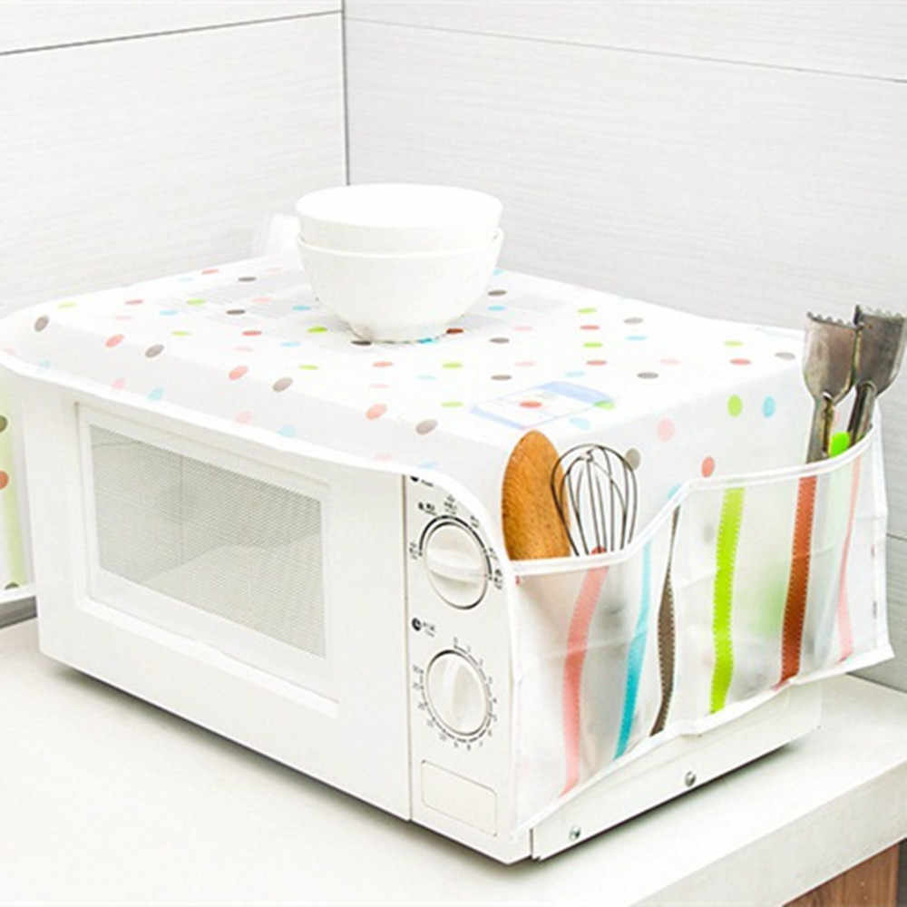 Inconpro Microwave Oven Dustproof Cover Protector Cover Cotton Linen Home Decor Microwave Oven Anti-Oil Dust-Proof Accessory for Home Kitchen Coffee Workshop Bar with Pouch