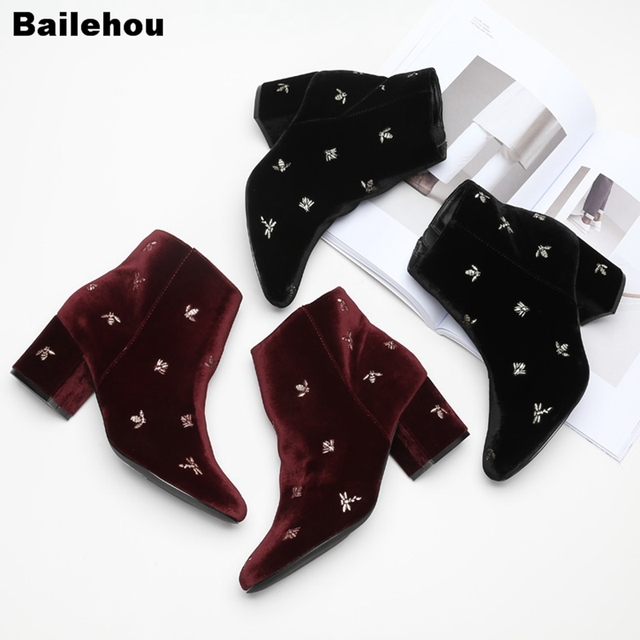Women Ankle Boots Round Toe Med Heel Short Boots Brand Bee Embroider Velvet High Quality Boot Women Winter Shoe Zapatos De Mujer