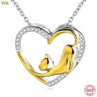 YFN New 925 Sterling Silver Necklace Cat Pendant Fashion Luxurious Jewelry Gold Plated Women Heart Necklaces