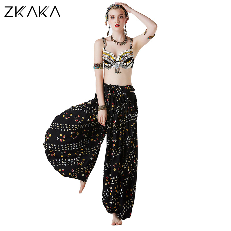 ZKAKA Ethnic Sequined Top Belly Dance Dress With Jewel-embellished Pants