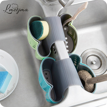LMETJMA 2 Sided Kitchen Sink Hanging Strainer Storage Holder Bag Sponge Towel Draining Rack Cleaning Brush Toothbrush Holder