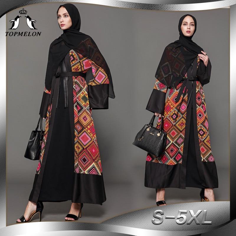 TOPMELON Luxury Abaya Dubai Plaids Pattern Kaftan Robes for Women Bangladesh Turkish Islamic Clothing