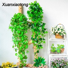 Xuanxiaotong 115cm PU Artificial Green Plants Creeper Leaf Lvy Vine for Home Wedding Decoration Wall Hanging Garland Party Decor