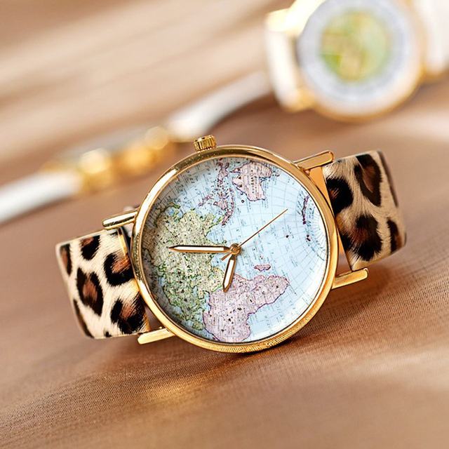 relogios feminino Hot Sale Retro World Map Watch Fashion Leather Alloy Women Leo