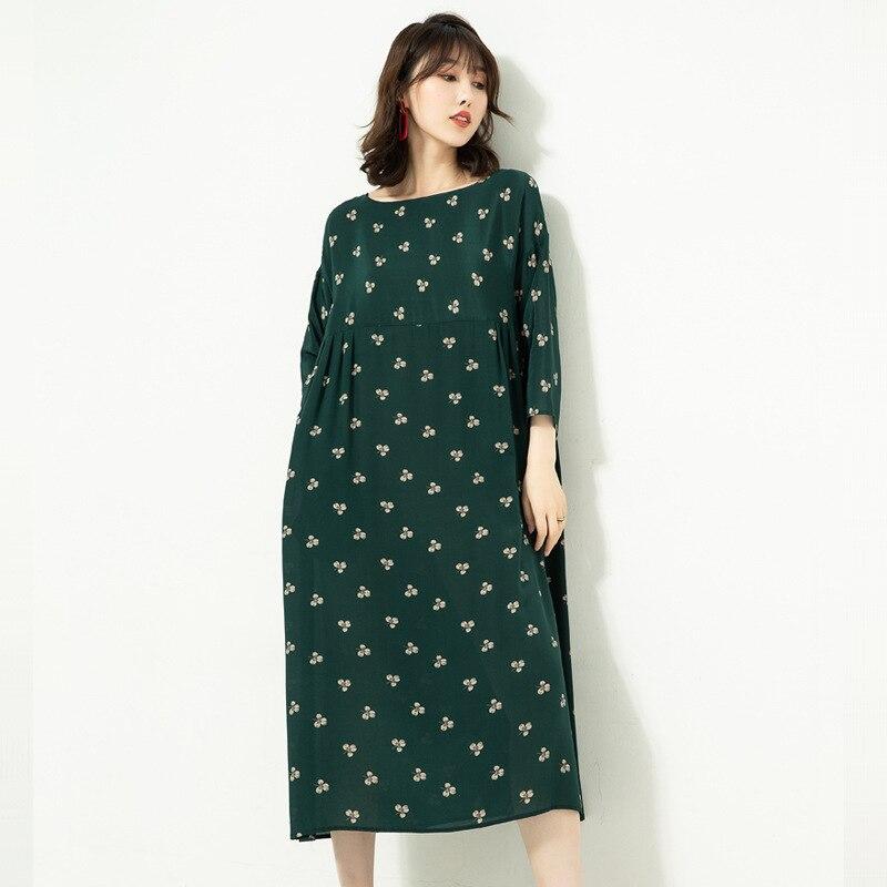 green De Style taille Lâche Blue Mi Mi Élégant Japonais Été O Ck532f Gamme 100Réel Ol cou Robe Femmes Haut mollet Soie 0OZwX8nNPk