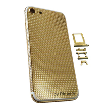 For iPhone 7 24K 24KT 24CT Mirror Gold Full Diamond Crystals Metal Back Cover Housing Middle Frame Replacement with LOGO&Buttons