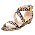 Fashion Women Sandals Open Toe Low Wedges Summer Casual Patent Leather Beach shoes sandals Leopard Ankle Strap Pumps