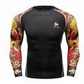 Homens musculares Compressão Apertadas T-shirt de Mangas Compridas Double Lados Impressões MMA Rashguard Aptidão Levantamento De Peso Desgaste da Camada de Base