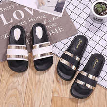 c0dd48d4d849 Designer Solid shallow thick heel women summer shoes famous brand slipper  glitter metal decoration sandal comfortable