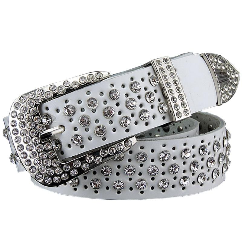 2016 New Fashion Rhinestone belts for women Luxury Designer Genuine leather belt High quality Cow second