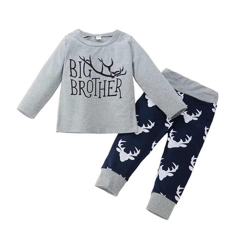 Baby Boy Girl Suits Cotton Long-sleeved Cartoon Brother Letter Printing Tops+Pants Cute Light Newborn Clothes Hot Sale