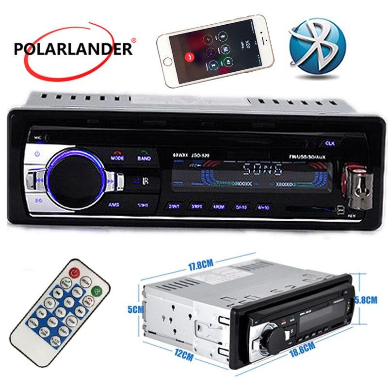 Polarlander Buletooth автомобиля Радио MP3 плеер FM USB SD TF AUX в 12 В 1 Дин Аудио стерео с разъем iso дистанционный пульт