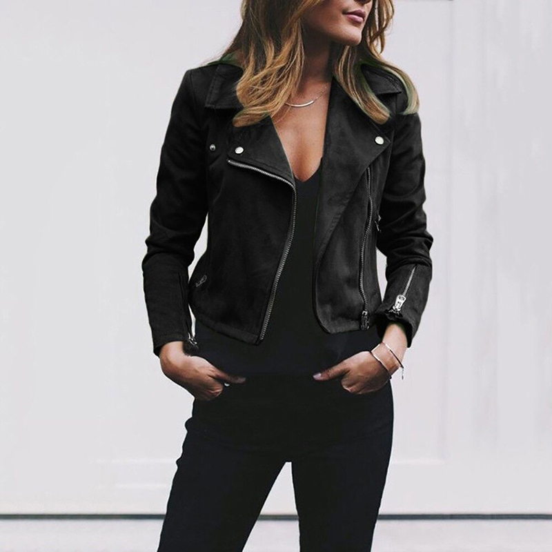 Women Faux Leather Elegant Zipper Basic Jacket Women Outwear Solid Slim Long Sleeve Turn-down Collar Fashion Short Jacket