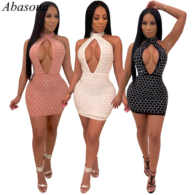 31f59e26ff Abasona 2019 Women Summer Shining Sequins Elegant Evening Party Dresses  Backless Haltar Hollow Out Sexy Night Club Bodycon Dress