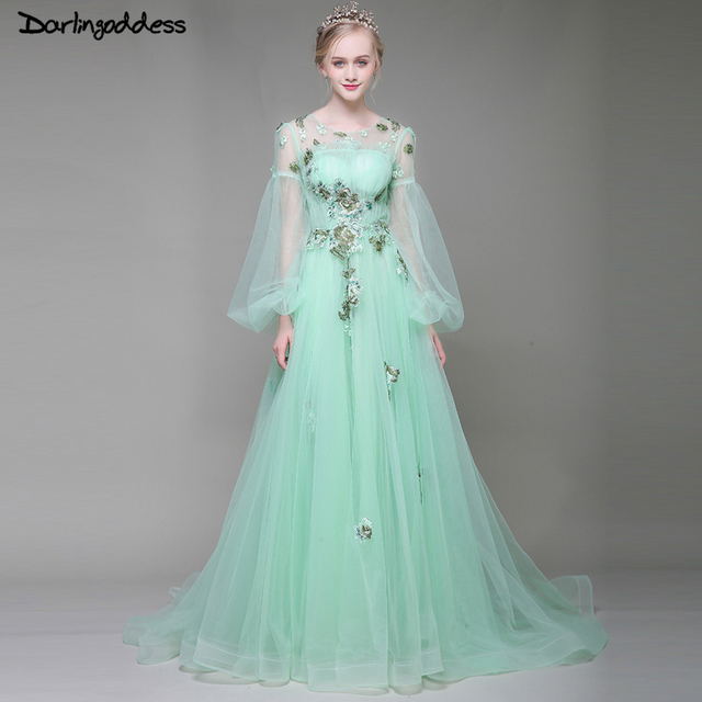 Robe De Soiree Luxury Long Sleeves Beach Evening Dresses Sexy See Through Appliques Pearls Evening Gowns 2018 Wedding Prom Dress