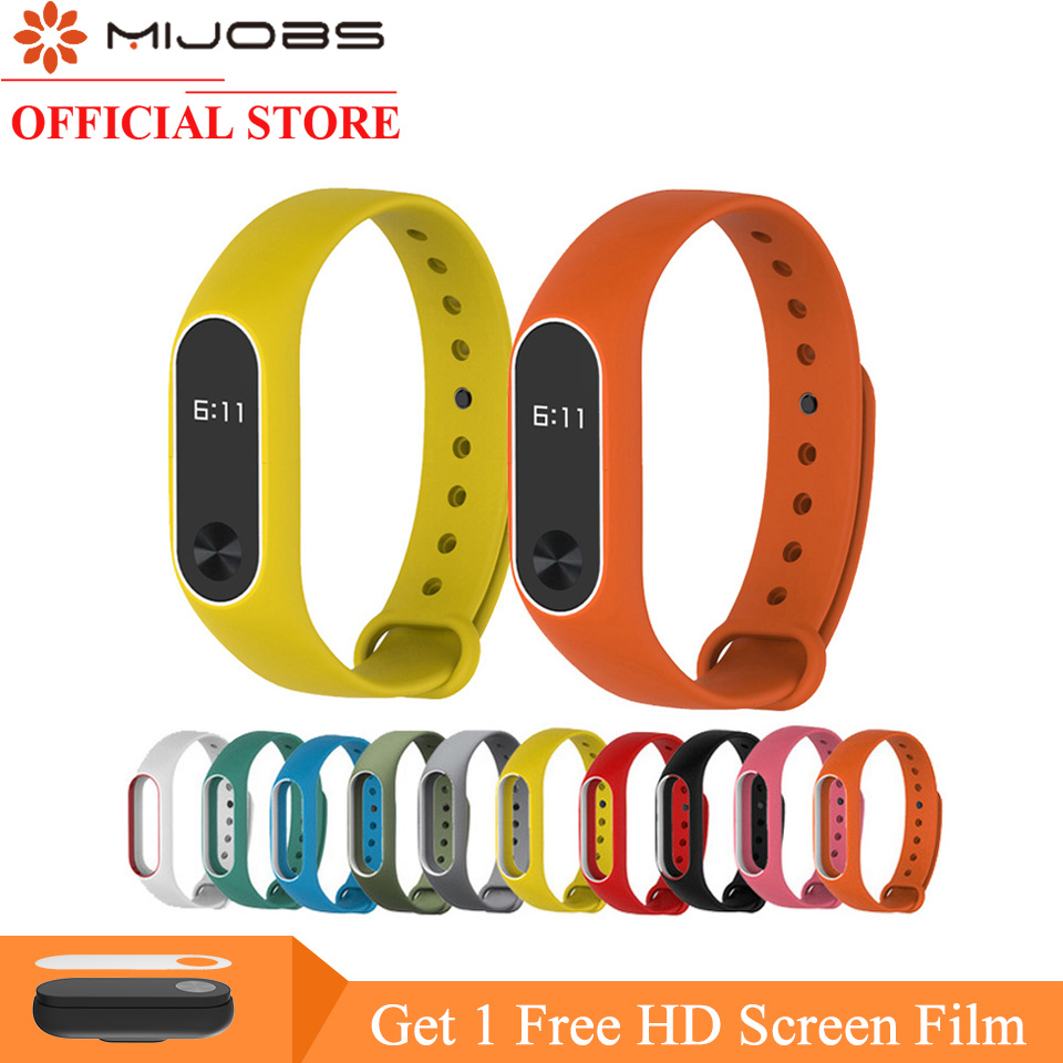Original MIJOBS Colorful Silicone Wrist Strap Bracelet Double Color Replacement for Miband Xiaomi Mi band 2 Wristbands все цены