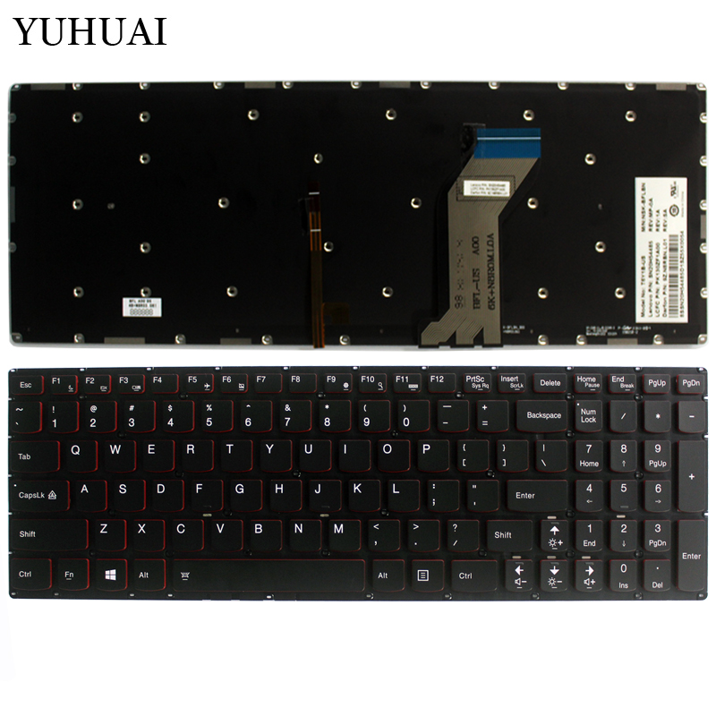 NEW for Lenovo Y700 Y700-15ISK Y700-17ISK Backlit laptop Keyboard US Without frame gzeele new us laptop keyboard for lenovo for ibm thinkpad edge e530 e530c e535 e545 04y0301 0c01700 v132020as3 without backlight