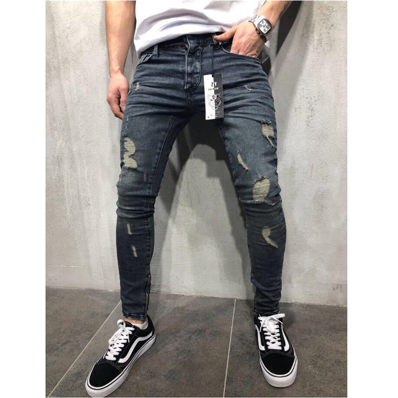 Ripped Jeans Pants Trousers Biker Hip-Hop Slim Straight Stylish Denim New-Fashion X2302