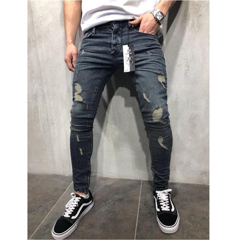 2019 Men Stylish Ripped Jeans Pants Biker Slim Straight Hip Hop Frayed Denim Trousers New Fashion Skinny Jeans X2302