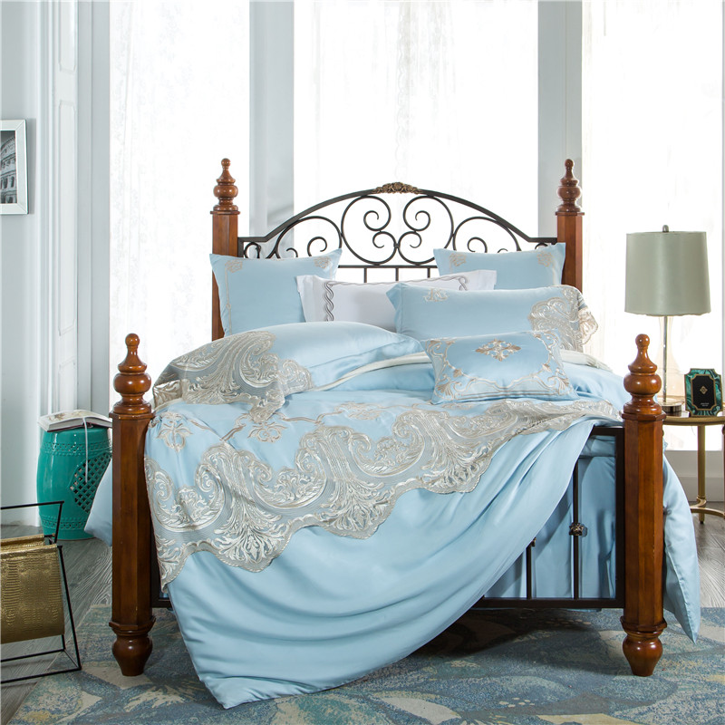 Wathet Luxury silvery Lace Embroidery 80S Tencel Bedding Set King Queen Size Duvet Cover Bed Linen Bed Sheet Pillowcases 4/7pcsWathet Luxury silvery Lace Embroidery 80S Tencel Bedding Set King Queen Size Duvet Cover Bed Linen Bed Sheet Pillowcases 4/7pcs
