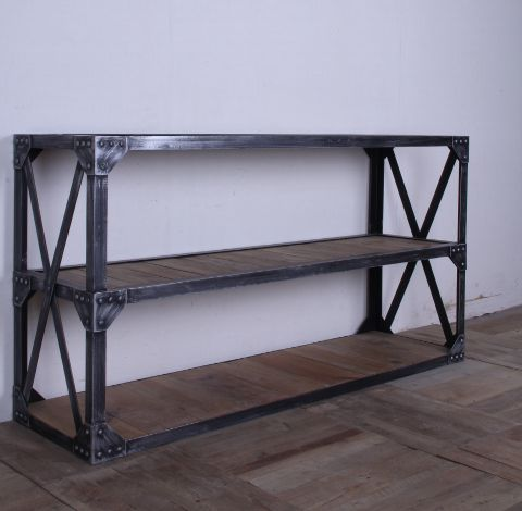 French Loft American Pine Bookcase Shelves Vintage Wood Clapboard Wall Shelf,  Wrought Iron Tables Shelves