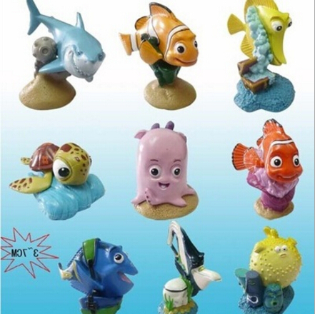 Anime cartoon <font><b>Finding</b></font> <font><b>nemo</b></font> dory shark Bruce mini model toy action figure dolls one <font><b>set</b></font> <font><b>9</b></font> <font><b>pcs</b></font> pendant ornament