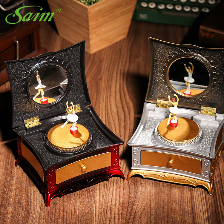 Saim Cute Dancing Girls Music Box Creative Dressing Table Music Jewelry Box Retro Caskets Organizer Cosmetic Xmas Gifts JJ50625