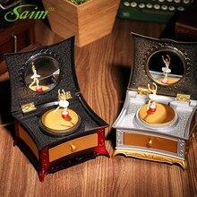 Saim Cute Dancing Girls Music Box Creative Dressing Table Jewelry Retro Caskets Organizer Cosmetic Xmas Gifts JJ50625