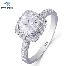 DovEggs 10K White Gold 1.4CTW 6*6mm FGH Color Cushion Cut Moissanite Halo Engagement Ring with Accents for Women