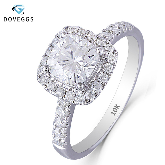 DovEggs 10K White Gold 1.4CTW 6*6mm GH Color Cushion Cut Moissanite Halo Engagement Ring with Accents for Women