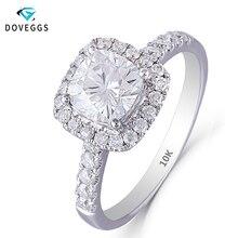 DovEggs 10K białe złoto 1.4CTW 6*6mm GH kolor poduszka Cut Moissanite pierścionek zaręczynowy aureola z akcentami dla kobiet