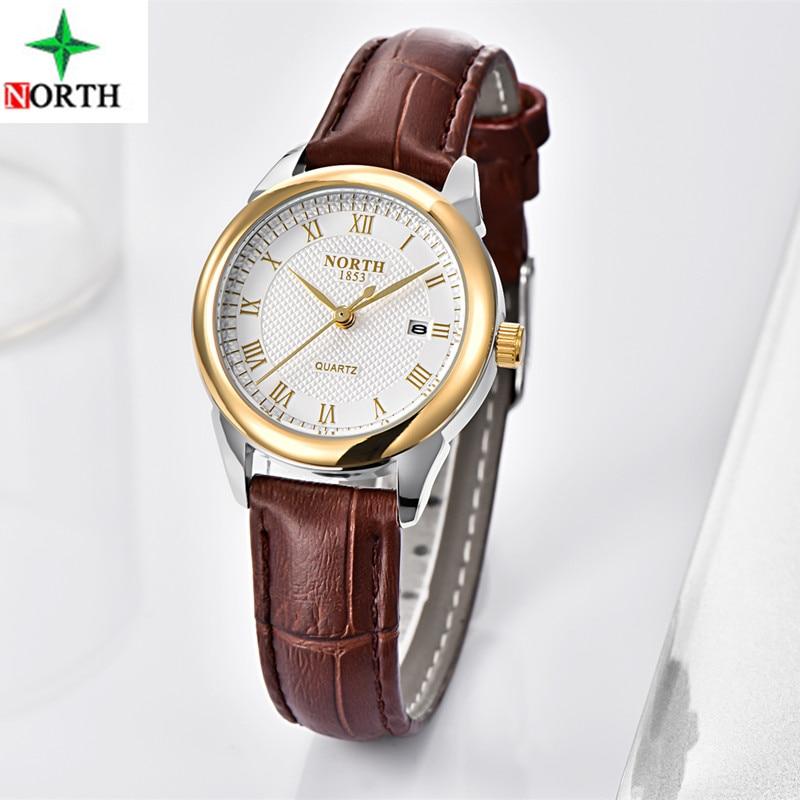 2019 NORTH Luxury Brand Women Watches Gold Quartz WristWatch ladies Fashion Dress Leather Casual Watch Woman Relogio Feminino