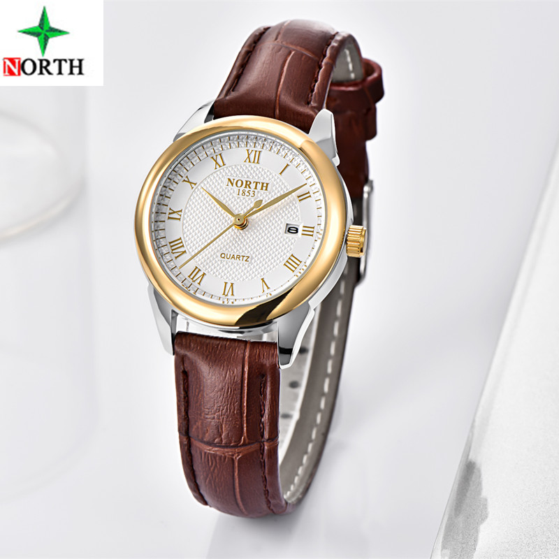 2017 NORTH Luxury Brand Women Watches Gold Quartz WristWatch ladies Fashion Gfit Leather Casual Watch Woman Relogio Feminino silver diamond women watches luxury brand ladies dress watch fashion casual quartz wristwatch relogio feminino