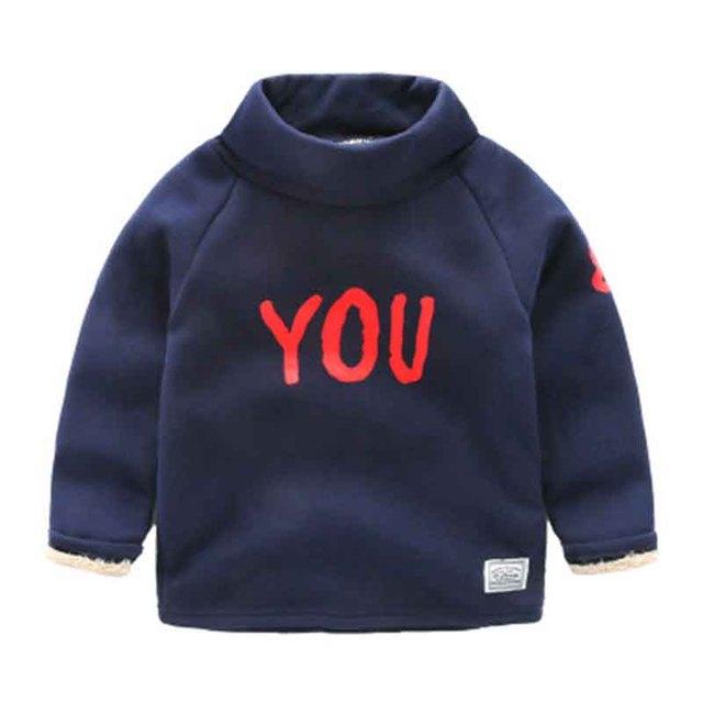 Ребенок плюс бархат рубашка мужской ребенка и длинным рукавом, свитер с высоким воротом рубашки основные детская одежда 2016 зима