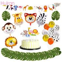 Huiran Happy Birthday Balloons Party Decor Kids Animal Number Baloon Safari Jungle Supplies Ballon