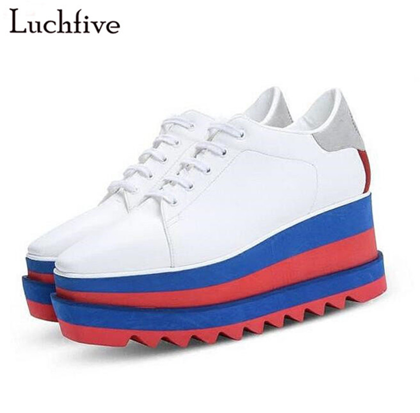 2017 British style Women casual Shoes street snap low top platform Wedge Shoes black white lace up thick bottom Shoes Women beffery 2018 british style patent leather flat shoes fashion thick bottom platform shoes for women lace up casual shoes a18a309