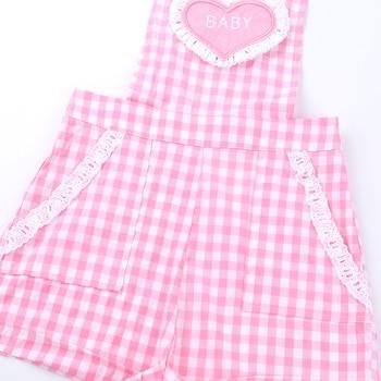 iiniim Adult Womens Cute ABDL Clothing Baby Patch Criss-cross Back Gingham Print Babydoll Short Overalls Shortalls Jumpsuits 6