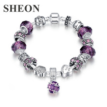 SHEON New Arrival Antique Silver Charm Bracelet & Bangle with Love and Flower Beads Women Wedding Jewelry 3 Colors 20CM