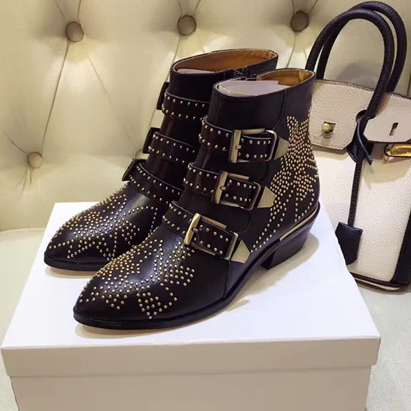 2016 Winter Top-Lined Susanna Studded Leather Buckle Ankle Boots For Women Round Toe Kitten Heels Shoes Women zapatos mujer
