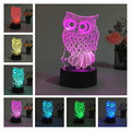 3D Night Light RGB Changeable Mood Lamp OWL LED Light DC 5V USB Decorative Table Lamp Get a free remote control