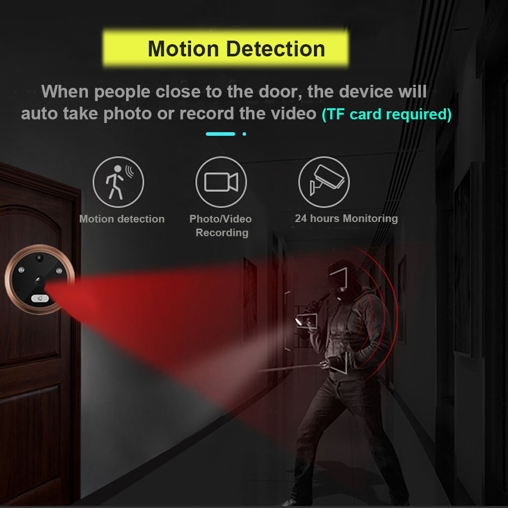 Image 3 - Topvico 4.3 Inch Motion Detection Video Camera Door Peephole Doorbell Electronic Ring Video eye Viewer Auto Photo Video Record-in Doorbell from Security & Protection