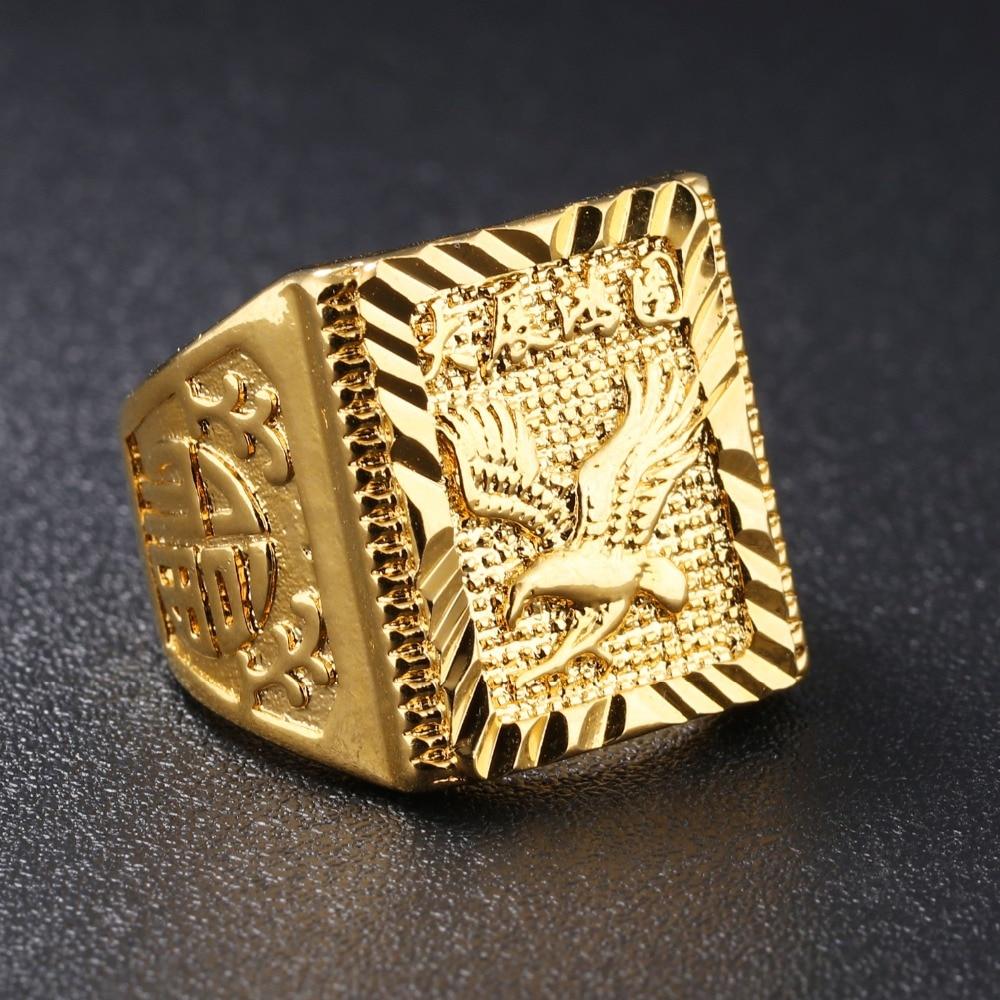 TENGYI Eagle Design Men Ring 20MM Big Wide Luxury Gold Color ...