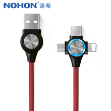 NOHON Fast Charging Sync Data Cable Lighting For iPhone 8 X Plus 3 in 1 LED Micro USB Type-C Xiaomi Huawei Charge Cables