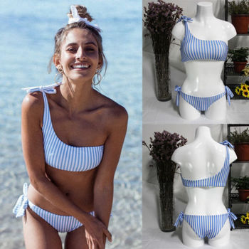 2Styles Low Waist Off One Shoulder Blue Striped Women Push-up Padded Bra Bandage Bikini Set Swimsuit Triangle Swimwear Bathing