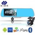 E-ACE Android Navegador de Carro DVR Espelho Retrovisor 350 Graus Câmera Handfree Bluetooth WIFI FM 5.0 Polegada Display FHD 1080 P gravador