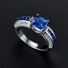 Super Shining Blue Pink CZ Ring Women Wedding Ring Blue and clear Cubic Zirconia Ring in Real Rhodium недорого